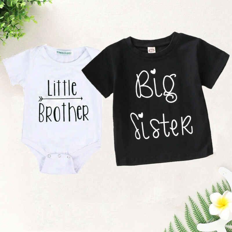 Conjunto de algodón para niños recién nacidos de Little Brother, mameluco de algodón para bebé, camiseta para hermana mayor, conjuntos para bebés de verano