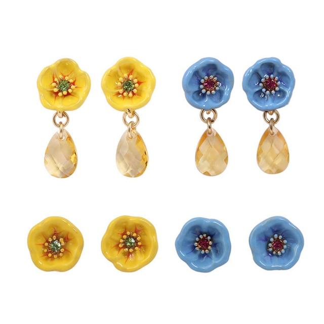 Dyxytwe Enamel Glaze Cute Beautiful Bloom Flowers Stud Earrings Women Christmas Gift