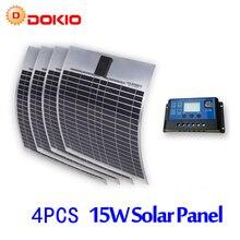 DOKIO Brand 4PCS 15W 18V Flexible Solar Panel China + 10A 12V/24V Controller 60 Watt Flexible Panels Solar Car/Boat Battery
