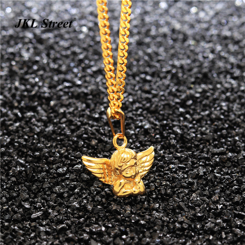 24 Ladies Girls Boys Stainless Steel Gold Mini Guardian Angel Wings Pendant Round Cuban Chain Necklace Baby Gift JF2234