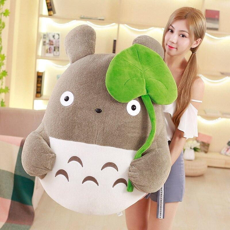 Kawaii Anime Totoro pluszowe lalki duży japoński Cartoon lotosu liść Totoro zabawki poduszki dzieci prezent urodzinowy dziewczyna prezenty 43 cal 110 cm w Filmy i telewizja od Zabawki i hobby na  Grupa 3