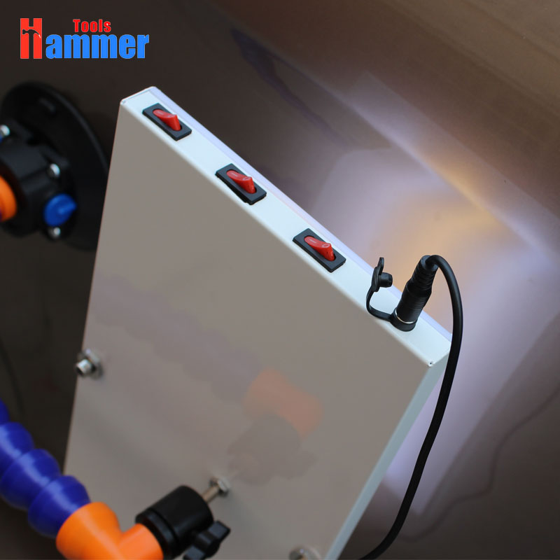 Tools : LED Lamp Reflector Board car KING Dent Repair Tools LED Light Reflection Board with Adjustable Holder Hand Tool Set