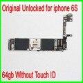 100% abierto original para iphone 6 s placa base con patatas fritas, 64 gb para iphone 6 s placa base sin touch id por el envío libre