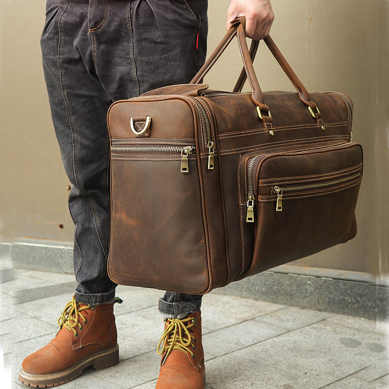 Luggage-Bag Weekend-Bag Duffel Big Travel Man Men Cowhide Crazy Durable Men's