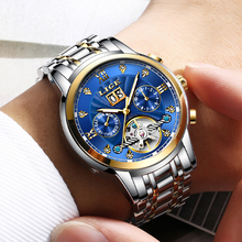 2018 LIGE Mens Watches Top Brand Luxury Golden Mechanical Automatic Wrist Watch Skeleto Dial Waterproof Sport Watch Week Clock mechanical automatic watch winner golden bezel white dial brown leather designer mens watches top brand luxury watch clock men