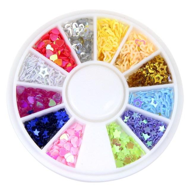 New Arrival! 12 Colors Mix Star & Heart Design Nail Art