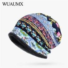 Wuaumx Autumn Winter Womens Beanies Hats Multicolor Print Turban Cotton Warm Hedging Caps Ring Scarf Skullies Cap