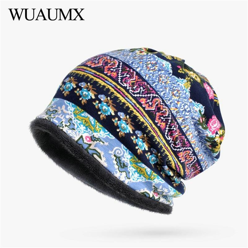 Wuaumx Autumn Winter Women's   Beanies   Hats Multicolor Print Turban Hats Cotton Warm Hedging Caps Ring Scarf   Skullies     Beanies   Cap