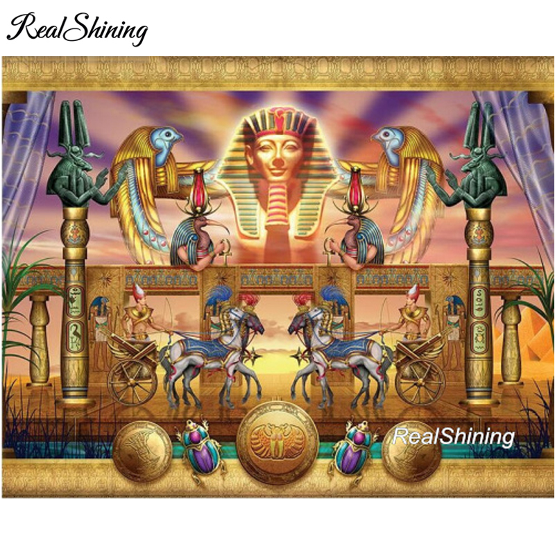 REALSHINING 5D Diamond Embroidery Avatar Egyptian Horses DIY Diamond Painting Full Square Mosaic Cross Stitch Crafts FS1726