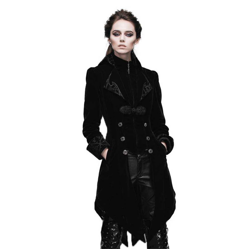 Punk Women Palace Vintage Dust Coat Black Wind Red Show Thin Dovetail Female   Trench   Two-Piece Set Coat