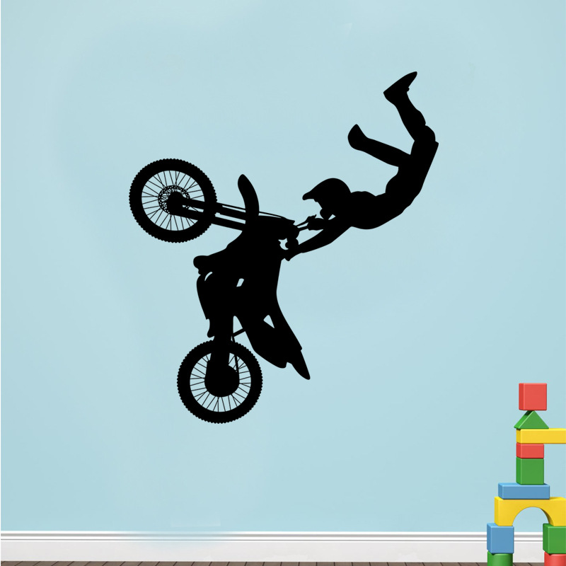 Ride a motorcycle vinyl wall sticker kids Bedroom living room home decor pvc Generation wall stickers