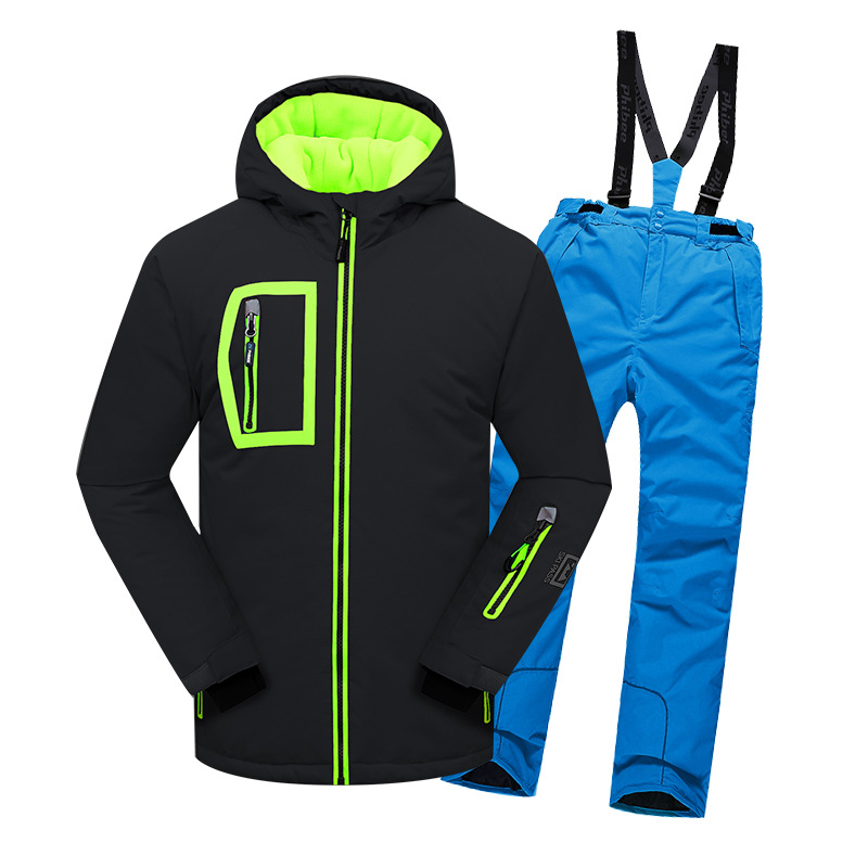 Children Ski Set boy Clothing Outdoor Snowboard Ski Suits Hooded Waterproof Kids Skiing Jacket Terno Esqui Warm windproof