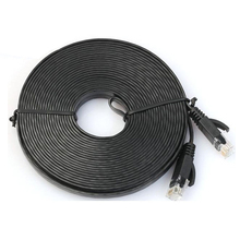 Network Cable RJ45 LAN Patch Lead Flat Cat6 Ethernet Modem Router Black, 7.6M(China (Mainland))