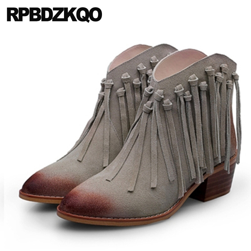 Vintage Genuine Leather Round Toe Tassel Autumn Winter Suede Shoes British  Fur Gray Women Ankle Boots 2018 Brown Chunky Fringe 5a1631ab2bbb
