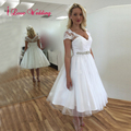 White Short Wedding Dresses Cap Sleeve V-neck Knee-length 1950s Retro Bridal Gowns with Lace Applique Custom Made Plus Size
