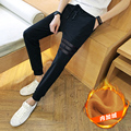 S~5XL! 2016 Men's clothing Electric a003-k185 plus velvet - p4 leather plus velvet casual skinny pants harem orange 12