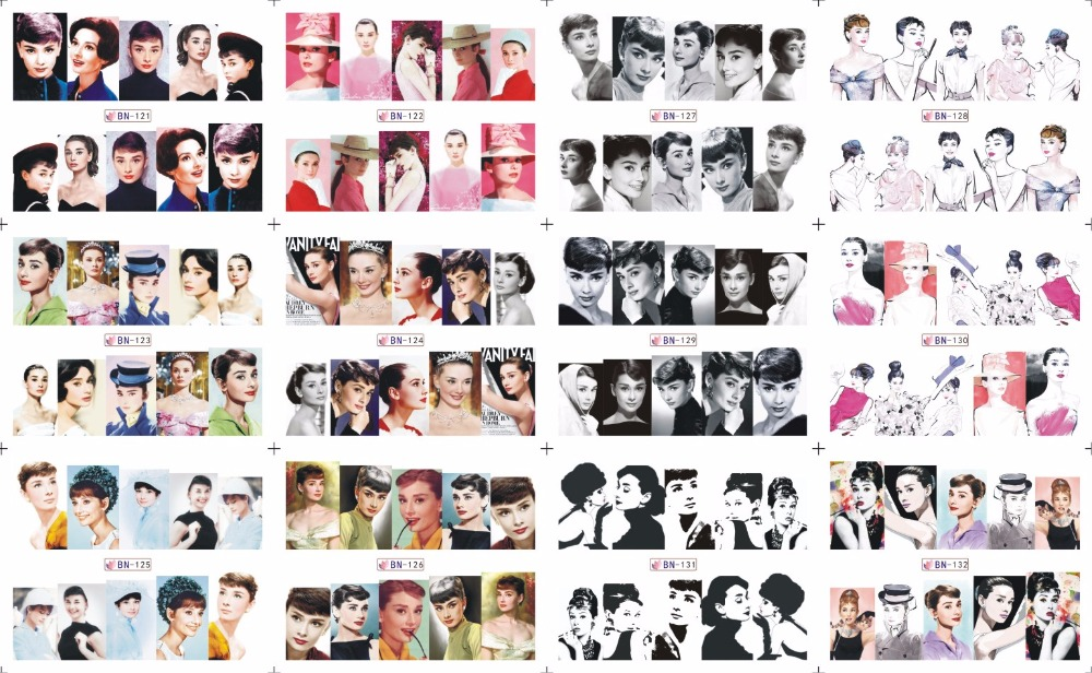On sale !! 1 lot =20sheets.12 in one sheet New Style Nail Art Water Sticker Audrey Hepburn in 2016 for BN121-132 30pcs in one postcard audrey hepburn hollywood goddess christmas postcards greeting birthday message cards 10 2x14 2cm