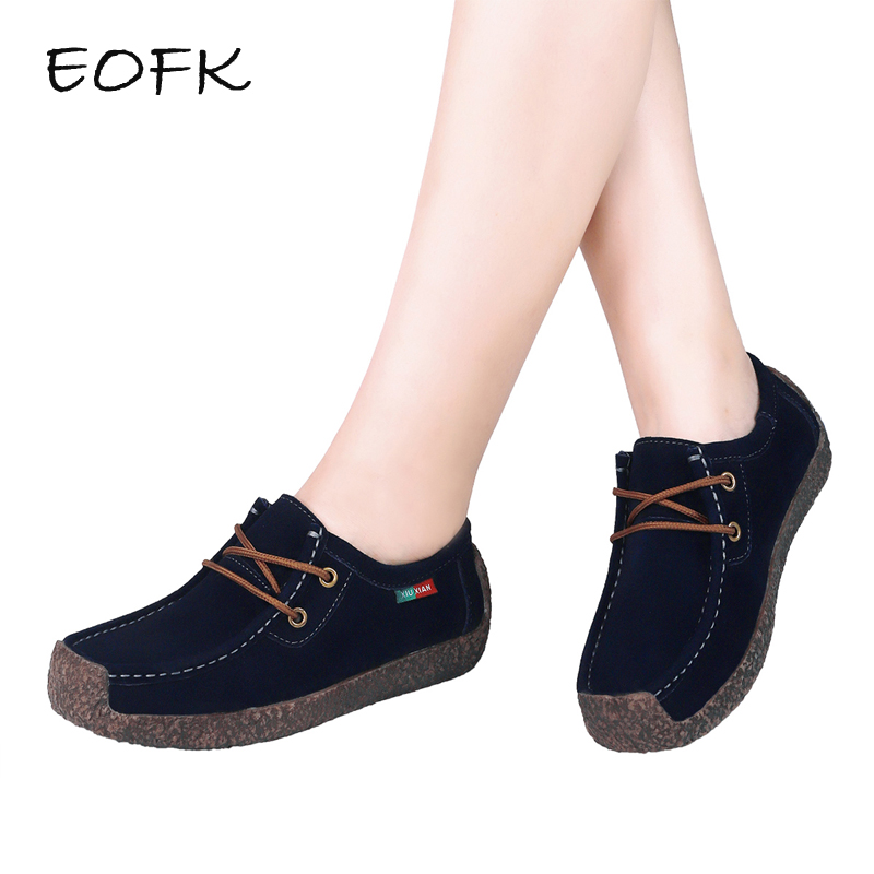 EOFK Women Flats Comfortable Moccasins   Suede     Leather   Lace up Shoes Woman Navy Blue Flat Women's Casual snails Shoes