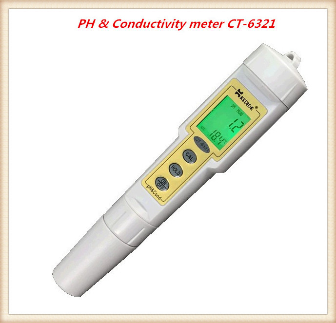 цены Free Shipping  Pen Type Digital PH meters CT-6321 PH & Conductivity meter Range 0.0-14.0pH; 0-199.9uS/cm Water Tester
