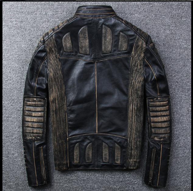 Vintage Forme Gratuite Vache De Véritable Cuir Livraison New Biker Remise Vestes Homme Hommes Vêtements Marque Veste En Moto TqRwRE