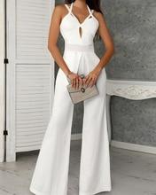 2019 Office Lady Elegant Hollow Out White Jumpsuit Fashion Wide Leg Jumpsuits Summer Sexy Cutout Crisscross Bandage Jumpsuit black cutout crisscross side zipper sandals