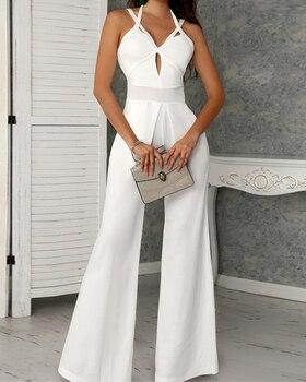 2019 Office Lady Elegant Hollow Out White Jumpsuit Fashion Wide Leg Jumpsuits Summer Sexy Cutout Crisscross Bandage