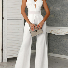 2019 Office Lady Elegant Hollow Out White Jumpsuit Fashion Wide Leg Jum