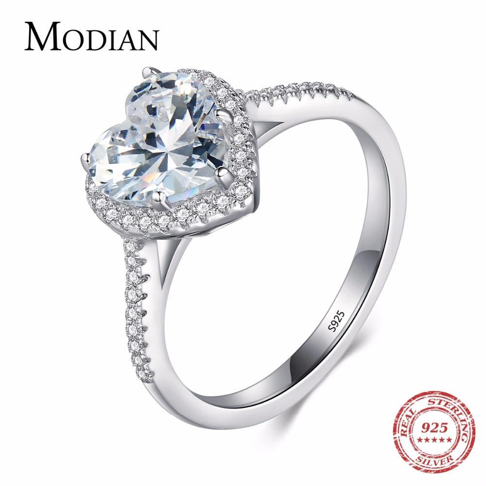 Hjerteform 925 Sterling Sølv Smykker Ring AAAAA Niveau CZ Brudekjole Forlovelsesringe til kvinder Piger Bijoux Med Gaveæske