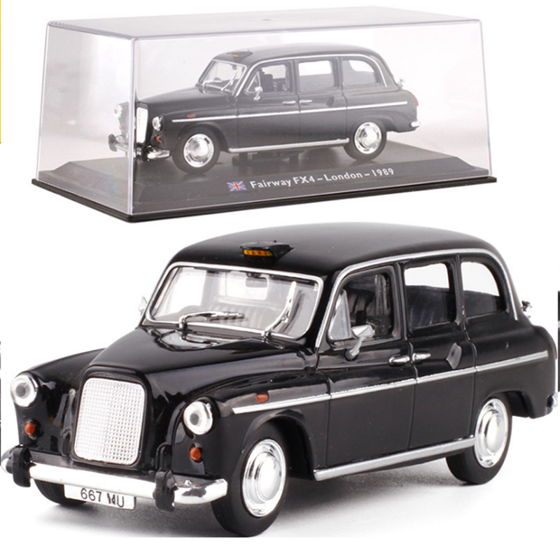 1:43 Static Model Classic Vintage Acrylic Box Classic London Taxi Cab 1958 Alloy Car Model Toys Diecast For Collection Gifts