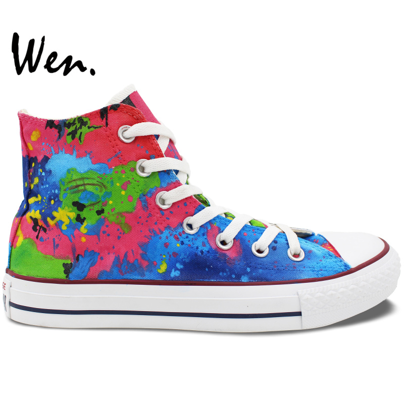 Wen Colorful Unisex Hand Painted Custom Design Casual Shoes Splashed Ink High Top Men Women's Canvas Sneakers Birthday Gifts wen original hand painted canvas shoes space galaxy tardis doctor who man woman s high top canvas sneakers girls boys gifts