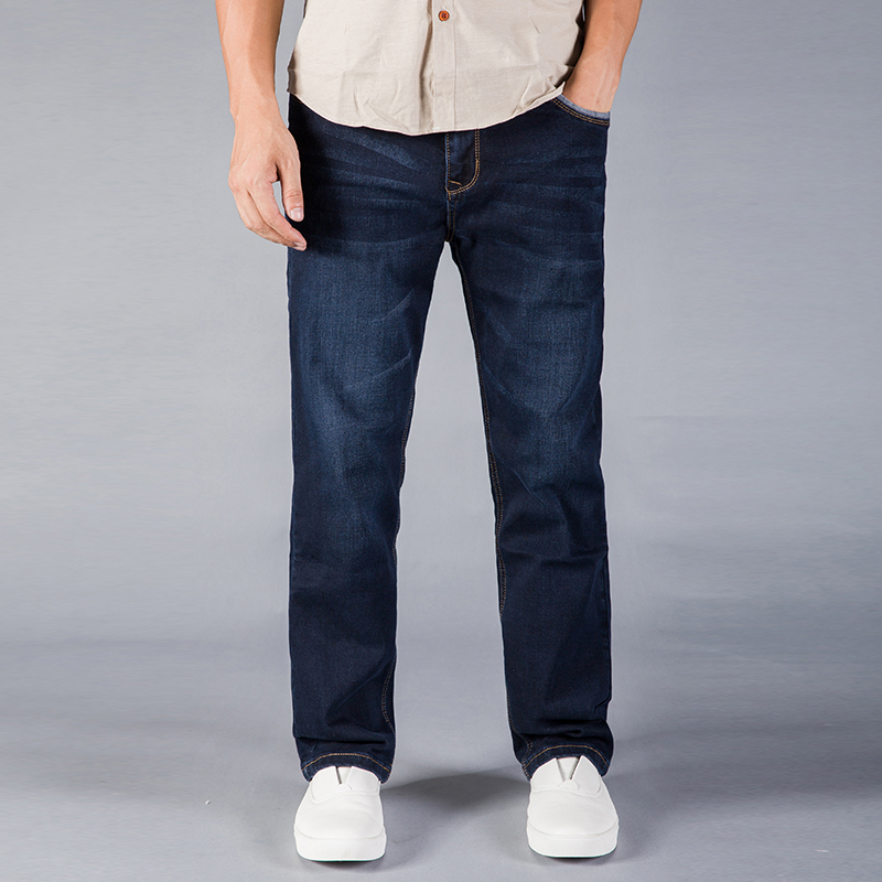 Mens Jeans Business Smart Casual Jean Pants Trousers Stretch Denim Jeans Casual Fit Loose Relax Trousers Pants Plus Size 42 44
