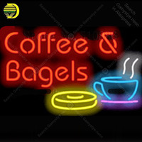 Custom Neon Sign For Coffee & Bagels Cafe Real Glass Tube Display Light Lamp Decorative Bar Beer Decor Bulbs Neon Signs 19x15
