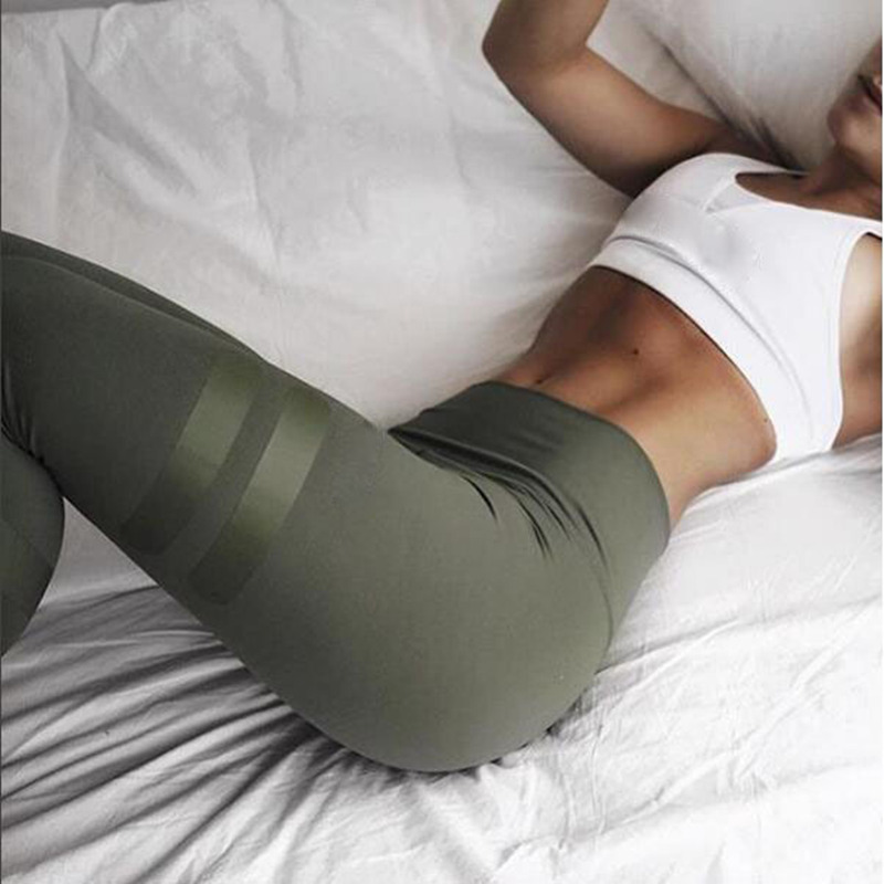 Army Green Women Leggings High Waist Print Breathable Slim Leggings Quick Dry Jeggings Pants