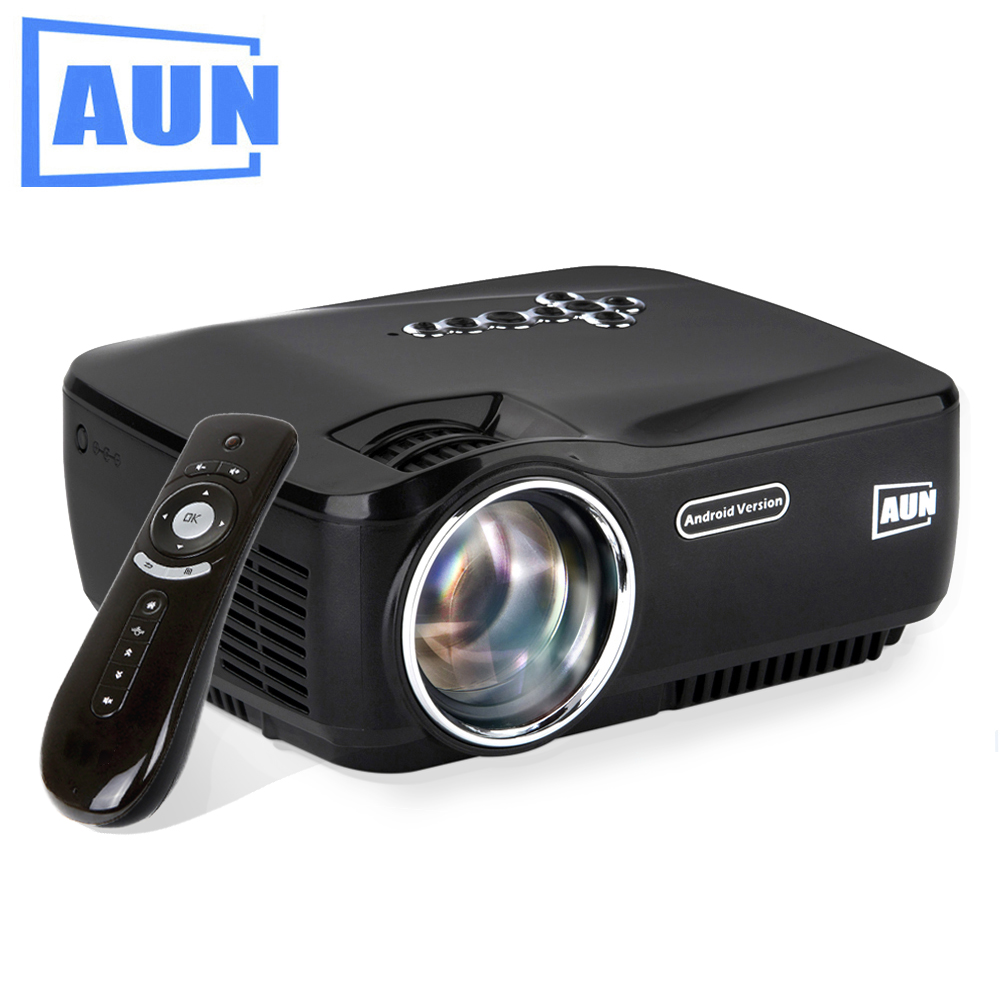 AUN Android Projector Built in WIFI Bluetooth  LED Projector Support KODI