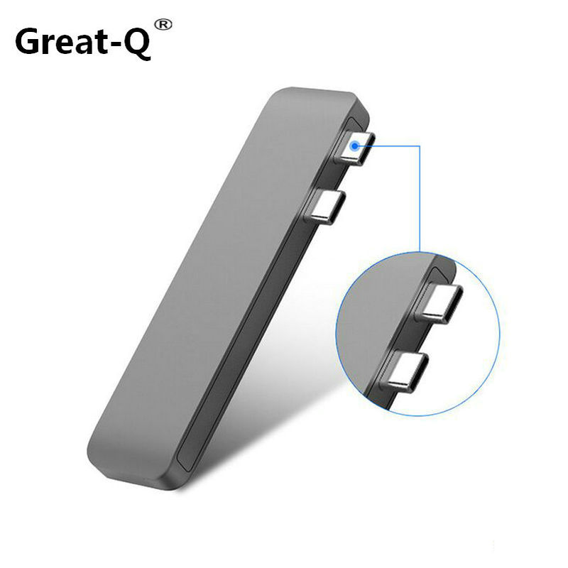 Graet-Q Aluminium 6 Port USB3.1 Type C to Dual USB C Hub 2 USB 3.0 SD/TF Card Reader Type-C Data Transfer Charge Adapter ifound 8800mah dual usb mobile power source w sd card reader led flashlight golden