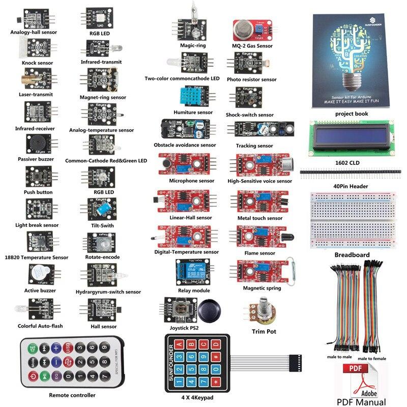 Sunfounder 37 Modules De Base Capteur Kit V1.0 pour Arduino R3 Mega2560 Mega328 Nano (UNO Conseil R3 Pas Inclus)