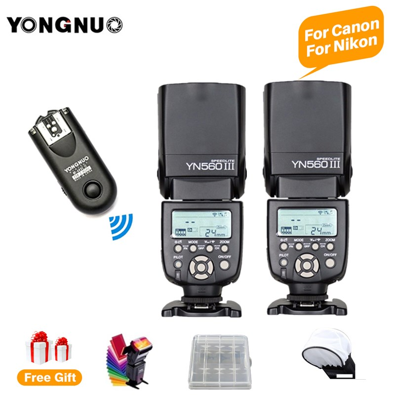 2pcs YONGNUO YN560III YN560 III 2.4 G Wireless Flash Speedlite Speedlight + RF-603 II C/N For Canon 5d mark ii Nikon DSLR Camera2pcs YONGNUO YN560III YN560 III 2.4 G Wireless Flash Speedlite Speedlight + RF-603 II C/N For Canon 5d mark ii Nikon DSLR Camera