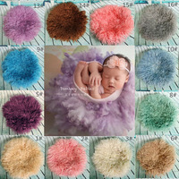 Newborn Photography Props Round Felt Wool Blanket Baby Photo Props Fluff Felted Curly Wool Basket Stuffer Layer Studio Backdrop
