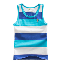 Famli 4Y-16Y Boys Summer Tshirt 2017 Children Boy Summer Fashion Striped Cotton Sleeveless T-shirt Teen Kids Tee Top 8 10 12 14