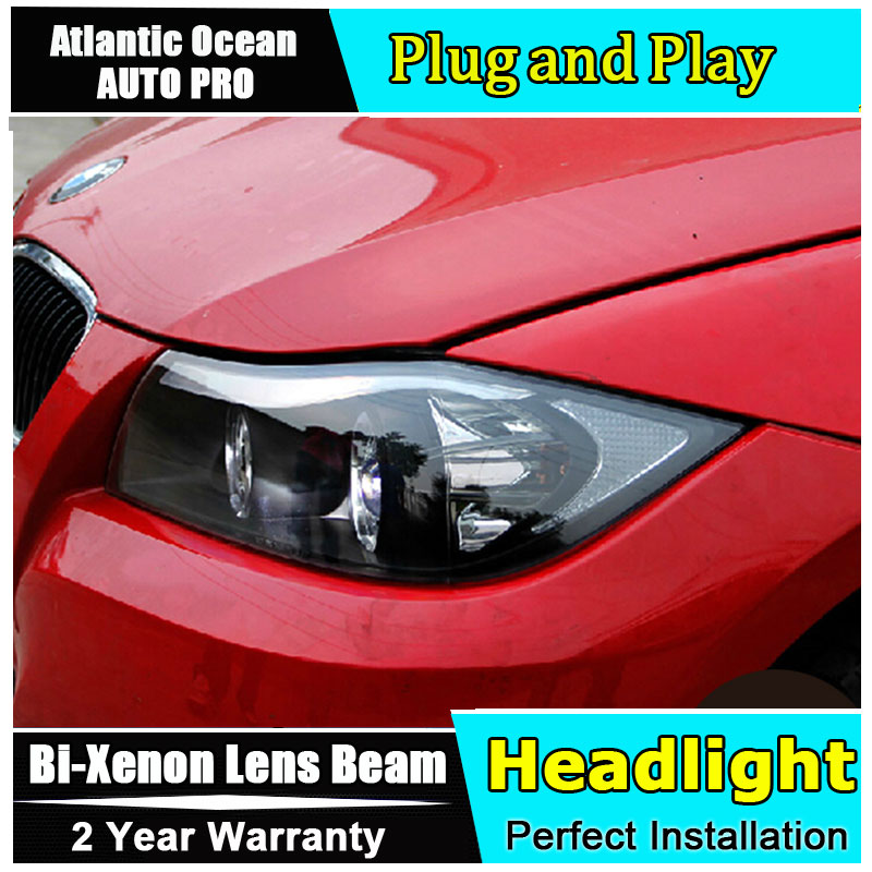 Стайлинга автомобилей светодиодные фары для БМВ Е90 фары 318 320 325 светодиодные фары глаза ангела фары Би-Ксеноновые передние accesspories