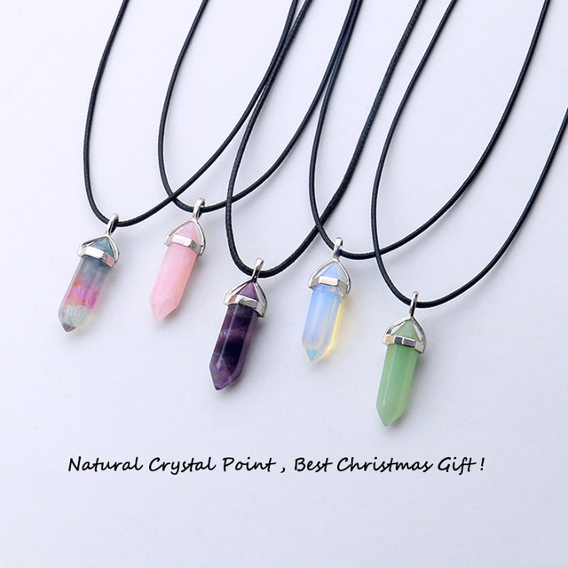 24 design natural green aventurine opal quartz crystal pendant black leather hex