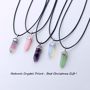 24 design natural green aventurine opal quartz crystal pendant black leather hexagon pendant chrysocolla choker necklace jewelry(China)