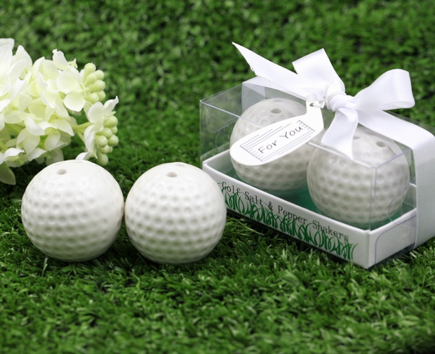 60sets Lot FREE SHIPPING White Golf Ball Design Salt Pepper Shakers Wedding Ceramic Salt Pepper