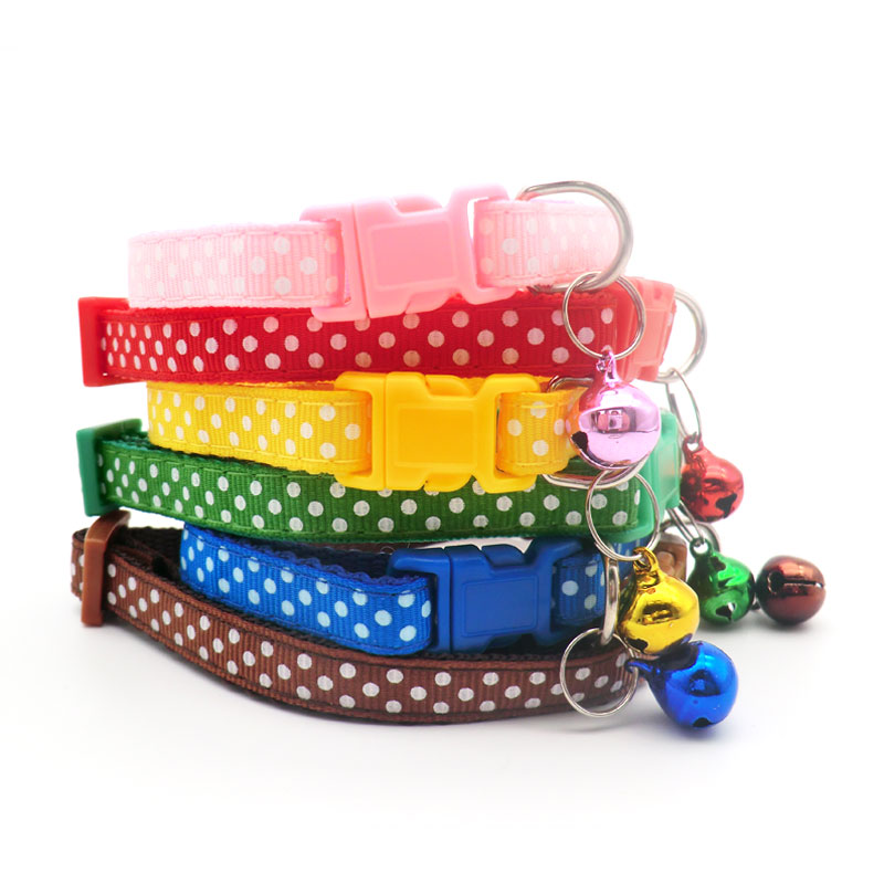Wholesale 100Pcs Point Decoration Dog Cat Collars Dog Collar With Bell Kitten Neck Adjustable Collar For