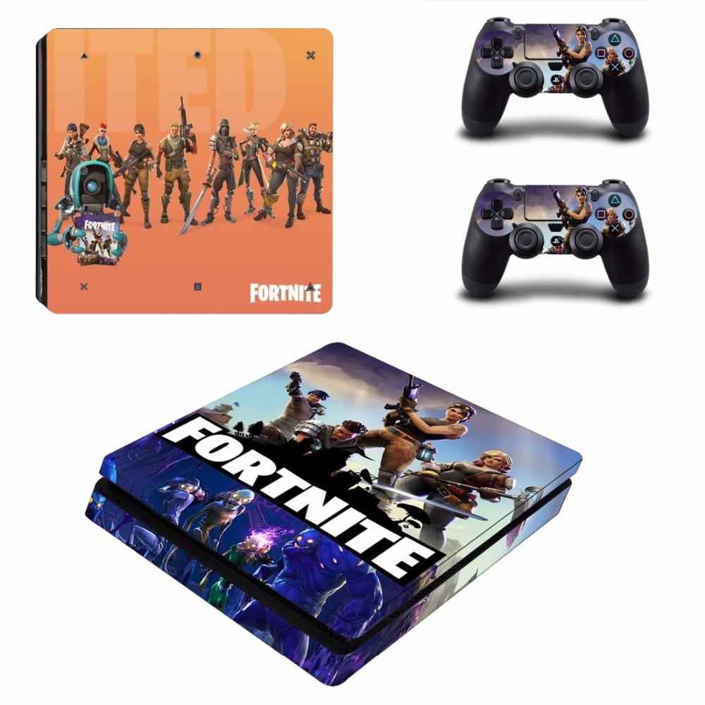 Jeu Fortnite PS4 Slim Peau Autocollant Pour Sony PlayStation 4 Console et 2 Contrôleurs PS4 Slim Peaux Autocollant de Vinyle de Décalque