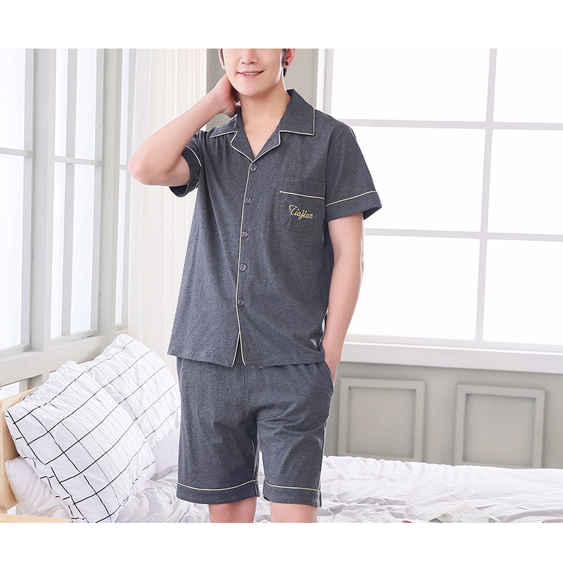 Mens cotton short sleeve sleepwear solid color nightgowns V neck single breasted pajamas ...