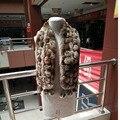 115 cm de largo Nuevo 100% genuina del conejo de rex chal de piel de conejo real hombres mujeres real rex bufanda de la piel bufanda de piel de conejo de invierno de la moda