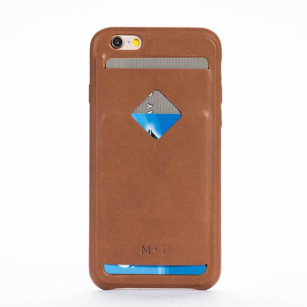 Livraison gratuite à la main en cuir véritable téléphone couverture iphone 6 6s étui 4.7 ''avec porte-carte