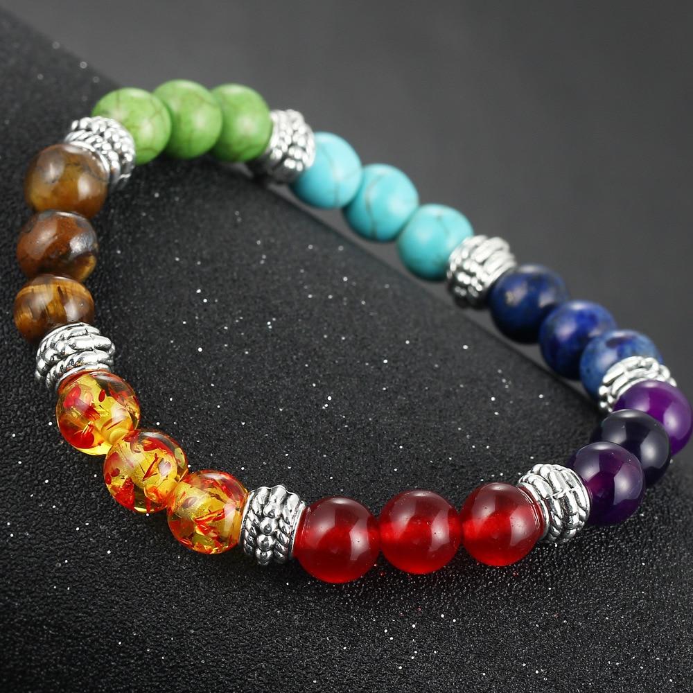 DIEZI New Men Women 7 Chakra Bracelets Bangle Colors Mixed Healing Crystals Stone Chakra Pray Mala