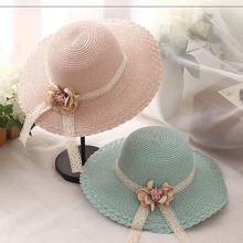 6acad8a9 IMOAA Children's hat summer flowers lace straw hat baby girl sunscreen cool  hat beach(China